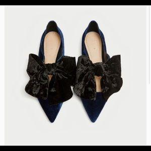 Zara Velvet Bow Flats